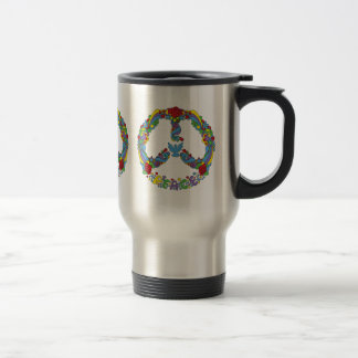 Peace symbol with flowers and stars pop-art style travel mug