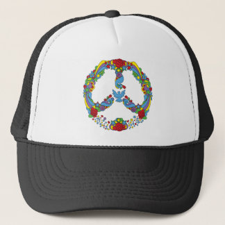 Peace symbol  with flowers and stars pop-art style trucker hat