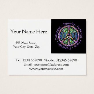 Peace Symbol with Peace, Harmony, Balance Business Card