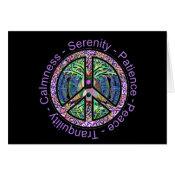 Peace Symbol with Peace, Harmony, Balance Card (<em>$3.15</em>)