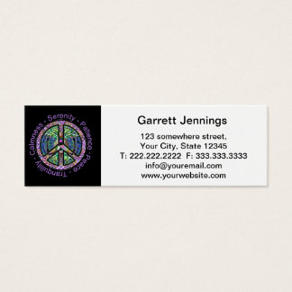 Peace Symbol with Peace, Harmony, Balance Mini Business Card