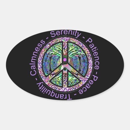 Peace Symbol With Peace Harmony Balance Oval Sticker Zazzle