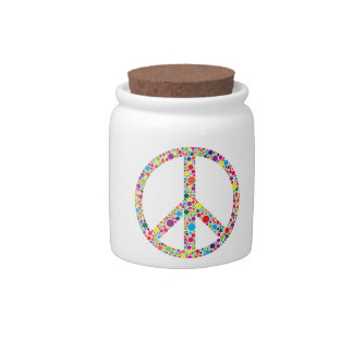 Peace Symbol with Polka Dots Illustration Candy Dish