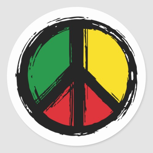 Peace Symbol with reaggae colors Classic Round Sticker