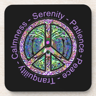 Peace Symbol with Tree of Life and Positive Words Coaster