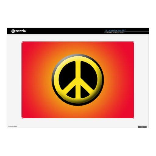 "Peace Symbol (Yellow) 15"" Laptop Skins"