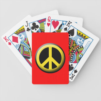 Peace Symbol (Yellow) Bicycle Playing Cards