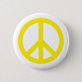 Peace Symbol - Yellow Button