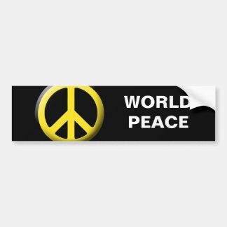 Peace Symbol (Yellow) Car Bumper Sticker