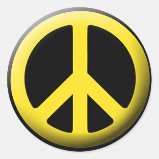 Peace Symbol (Yellow) Classic Round Sticker