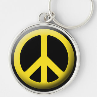 Peace Symbol (Yellow) Silver-Colored Round Keychain