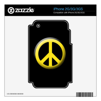 Peace Symbol (Yellow) Skins For The iPhone 3G