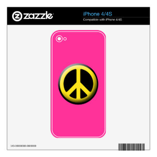 Peace Symbol (Yellow) Skins For The iPhone 4S
