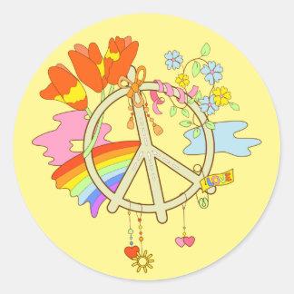 Peace Symbol yellow sticker