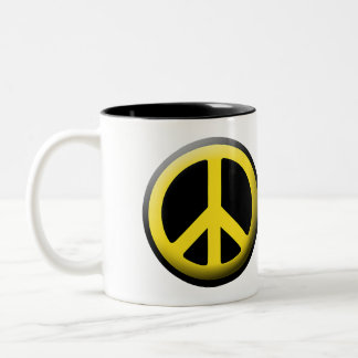 Peace Symbol (Yellow) Two-Tone Coffee Mug