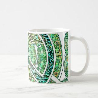 Peace Symbol, Yin Yang, Tree of Life in Green Coffee Mug