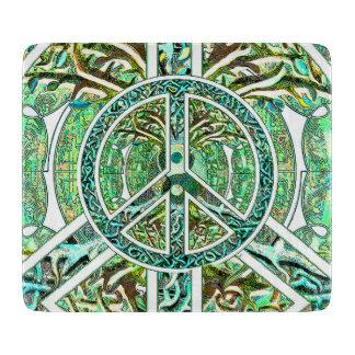 Peace Symbol, Yin Yang, Tree of Life in Green Cutting Boards