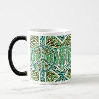 Peace Symbol, Yin Yang, Tree of Life in Green Magic Mug