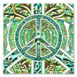 Peace Symbol, Yin Yang, Tree of Life in Green Photo Print