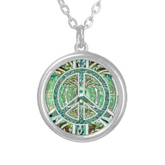 Peace Symbol, Yin Yang, Tree of Life in Green Silver Plated Necklace