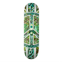 Peace Symbol, Yin Yang, Tree of Life in Green Skateboard Deck