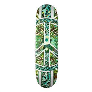 Peace Symbol, Yin Yang, Tree of Life in Green Skateboard Deck