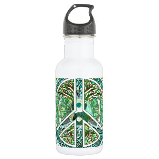 Peace Symbol, Yin Yang, Tree of Life in Green Stainless Steel Water Bottle