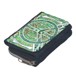 Peace Symbol, Yin Yang, Tree of Life in Green Wallet
