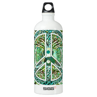 Peace Symbol, Yin Yang, Tree of Life in Green Water Bottle