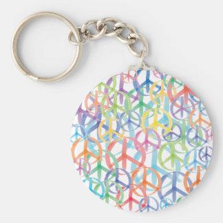 Peace Symbols Art Basic Round Button Keychain