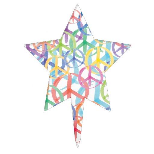 Peace Symbols Art Cake Topper