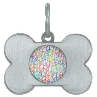 Peace Symbols Art Pet Name Tag