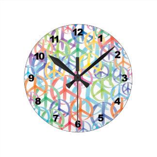 Peace Symbols Art Round Wall Clock