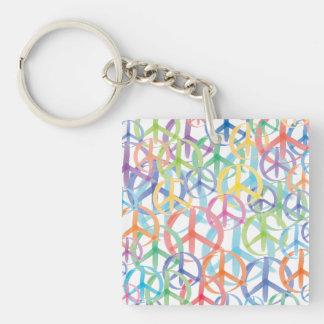 Peace Symbols Art Single-Sided Square Acrylic Keychain
