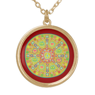 Peace Symbols Design Gold Plated Necklace