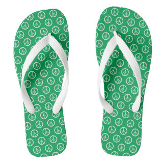 Peace Symbools Green and White Flip Flops