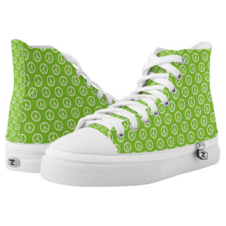 Peace Symbools Green and White Printed Shoes