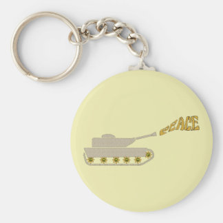 Peace Tank - Army Tank Shoots Peace Out of Gun Basic Round Button Keychain