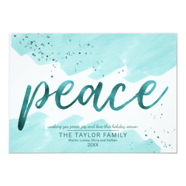 Beach Themed Peace | Teal Watercolor Christmas Card