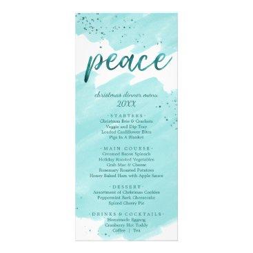 Beach Themed Peace   Teal Watercolor Christmas Dinner Menu Card