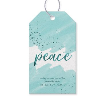 Beach Themed Peace | Teal Watercolor Christmas Gift Tags