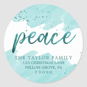 Beach Themed Peace | Teal Watercolor Christmas Return Address Classic Round Sticker