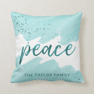 Beach Themed Peace | Teal Watercolor Christmas Throw Pillow