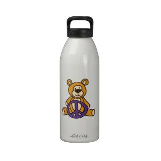 Peace Teddy Bear Reusable Water Bottles