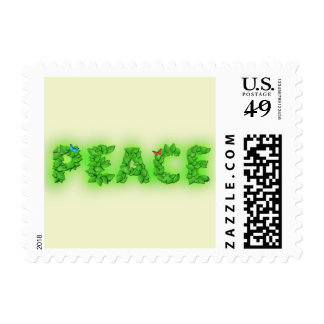Peace Text Green Leaves Postage