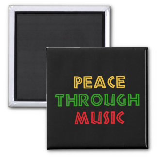 Peace Through Music 2 Inch Square Magnet