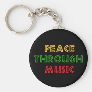 Peace Through Music Keychain