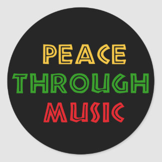 Peace Through Music Classic Round Sticker