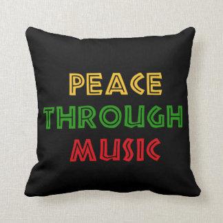 Peace Through Music Throw Pillow