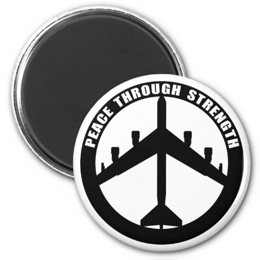 Peace Through Strength 2 Inch Round Magnet